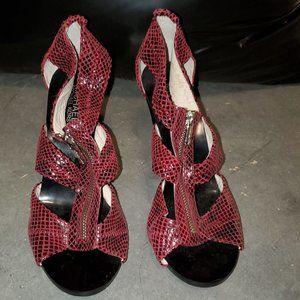 Michael Kors Red Leather Zip up Heels